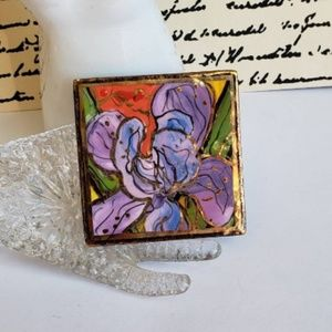 Laura Mostaghel Painted porcelain brooch